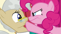 Pinkie plugging Mayor Mare's mouth S5E19