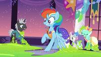 Rainbow Dash backs away from the slime S5E7