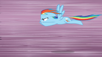 Rainbow Dash flying very fast S3E1
