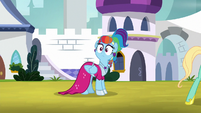 Rainbow Dash looks over at Rarity again S9E4
