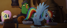 Rainbow Dash squashes a cup of water MLPTM