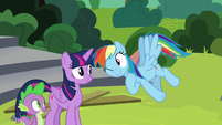 Rainbow Dash winking at Twilight Sparkle S8E7