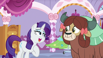 "Rarity heavily articulates ""to ask me"" S9E7"