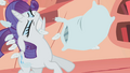 Rarity mid-being hit with pillow S1E8.png