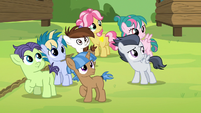 Rumble and campers look up at Thunderlane S7E21