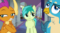 Smolder and Gallus roll their eyes at Sandbar S8E1