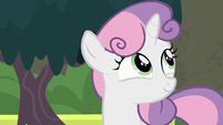 Sweetie Belle smiling happily S8E6