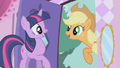 Applejack about to drag Twilight outside S1E03.png