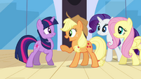 Applejack asking Twilight if she passed S3E01