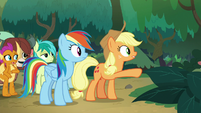 Applejack pointing left and right S8E9