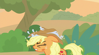 Applejack puts her wet hat on her head S8E23