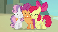 Cutie Mark Crusaders having a group hug S8E6