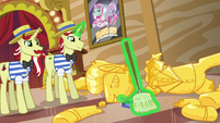 Flim and Flam sweep up pieces of Gladmane's resort S6E20