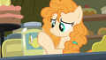 Pear Butter sticking labels on pear jam jars S7E13.png