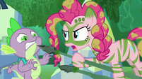 Pinkie points her spear close to Spike S5E26