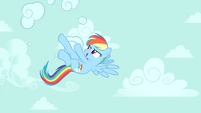 Rainbow Dash busting clouds S4E23