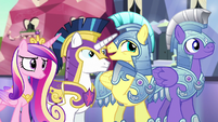 Royal guard whispering to Shining Armor S6E16