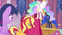 Sunset Shimmer addressing Princess Celestia EGFF