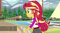 Sunset Shimmer passing by the camp lakehouse EG4