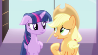 "Twilight and Applejack ""always keep us connected"" S4E01"
