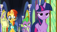 Twilight unamused by Spike's bragging S8E8