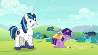 Young Twilight's kite crashes on Spike S9E4