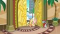 Applejack and Fluttershy enter Gladmane's resort S6E20.png