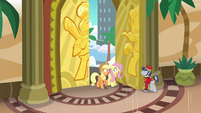 Applejack and Fluttershy enter Gladmane's resort S6E20