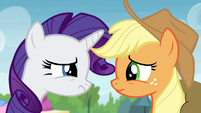 "Applejack and Rarity ""uh-oh"" S4E22"