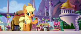 Applejack offering cider to her friends MLPTM