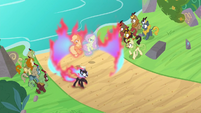 Autumn Blaze shields ponies in ring of fire S8E23