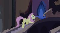 Fluttershy se aproxima do trono de Luna T4E03