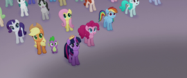 Ponies and Spike looking at the airship MLPTM