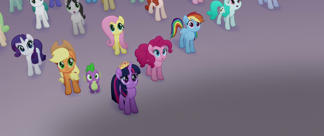 File:Ponies and Spike looking at the airship MLPTM.png
