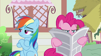 Rainbow crosses her hooves; Pinkie continues reading S7E18