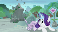 Rarity saves Mistmane from a falling boulder S7E25