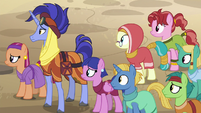 Somnambula ponies look to stage's right side S8E19