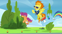 Spitfire drops Scootaloo to the ground S8E20