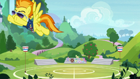 Spitfire flies away from the buckball field S8E15