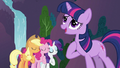 Applejack, Pinkie Pie and Rarity singing with Twilight 2 S3E2.png