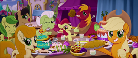 Applejack and family at the festival banquet MLPTM
