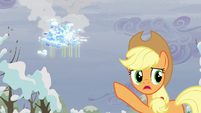 Applejack pointing to Cloudsdale S05E05
