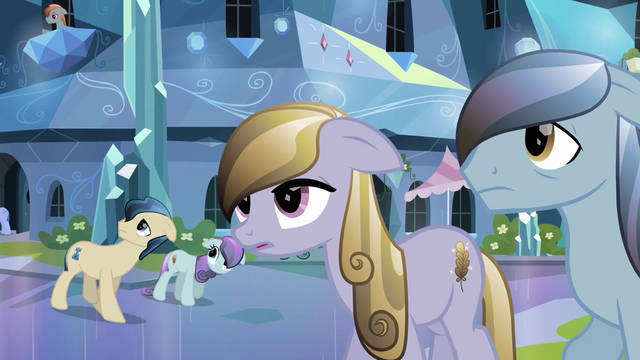 File:Crystal Ponies hear about the Crystal Faire S3E01.png