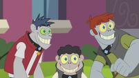 Diamond Dogs smiling at Rarity's hairclip EG2