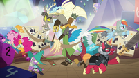 Discord, Spike, Big Mac, RD, and Pinkie jump into action S6E17