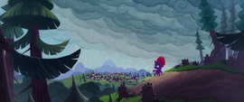 Fizzlepop Berrytwist looking back at her village MLPTM