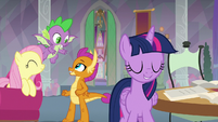 Fluttershy, Spike, and Smolder happy S9E9