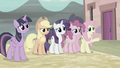 Fluttershy pointing toward Starlight's house S5E2.png