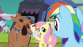 Fluttershy wiping orthros' drool S4E22.png