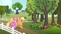 Luster and Applejack on the Apple farm S9E26